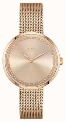 BOSS   Women's Praise  Rose-Gold Steel  Mesh Bracelet   Rose Dial 1502548