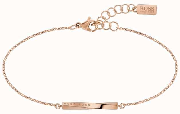 BOSS Jewellery Signature Rose Gold PVD Steel Bracelet 180mm 1580085