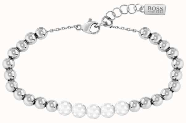 BOSS Jewellery Beads Collection Ceramic Stainless Steel Bracelet 180mm 1580023