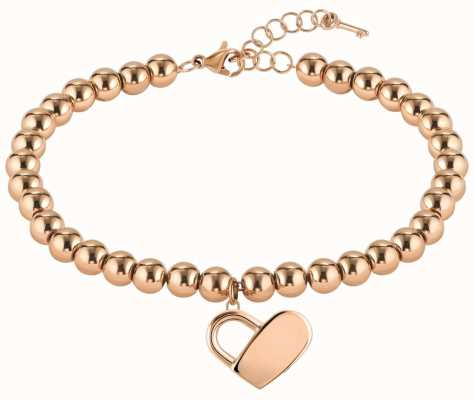 BOSS Jewellery Beads Collection Heart Rose Gold PVD Steel Bracelet 180mm 1580076