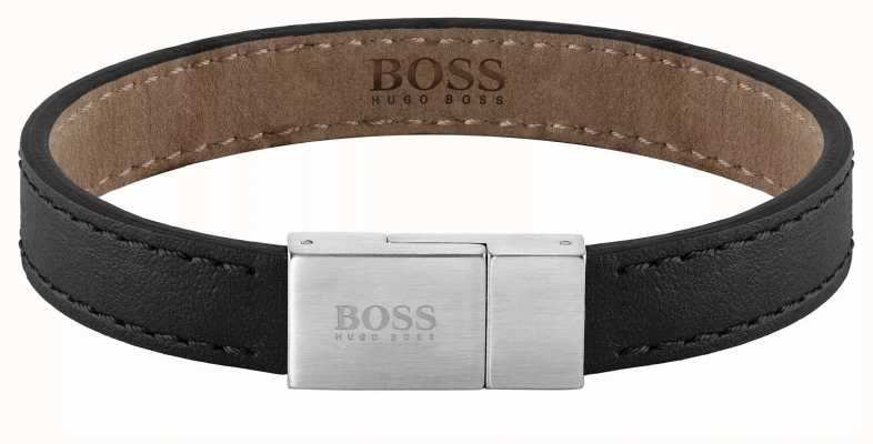 BOSS Jewellery Essentials Black Leather Bracelet 180mm 1580033M