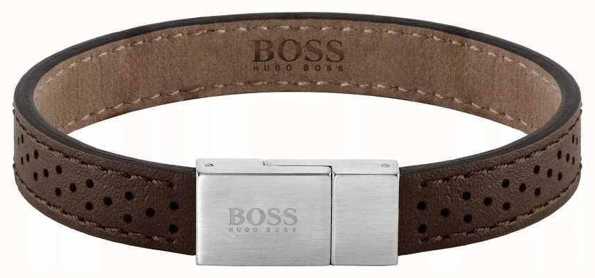 BOSS Jewellery Essentials Brown Leather Bracelet 180mm 1580034M