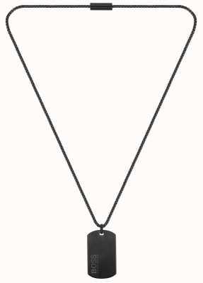 BOSS Jewellery ID Dog Tag Black PVD Steel Necklace 610mm 1580052