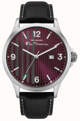 Ben Sherman | Men's Black Leather Strap | Red Pinstripe Dial BS030RB