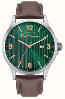 Ben Sherman | Men's Brown Leather Strap | Green Pinstripe Dial BS030NBR