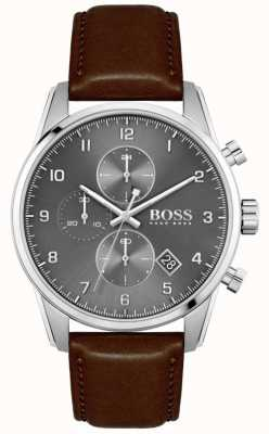 BOSS | Men's Skymaster | Brown Leather Strap | Grey Dial 1513787