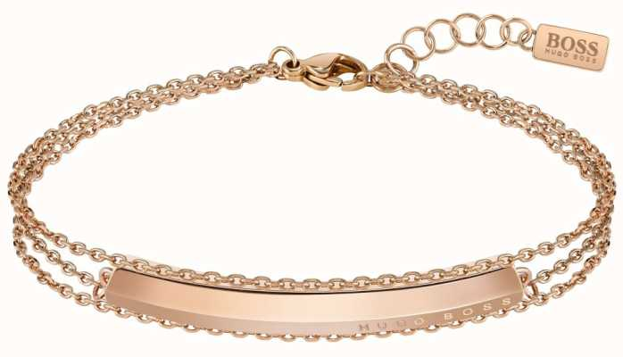 BOSS Jewellery Insignia Rose Gold Plated Chain Bracelet 180mm 1580090