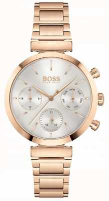 BOSS Flawless | Women's Rose Gold PVD Bracelet | Silver Dial 1502531