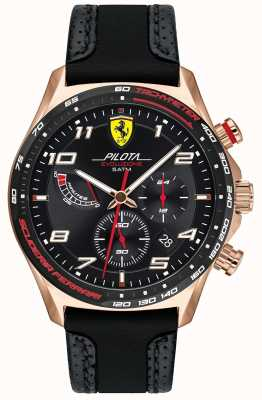Scuderia Ferrari | Men's Pilota | Black Leather/Silicone Strap | Black Dial 0830719