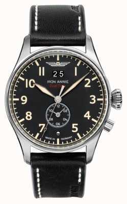 Iron Annie Flight Control Quartz | Black Leather Strap | Black Dial 5140-2