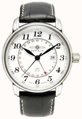 Zeppelin LZ 127 Transatlantic GMT | Black Leather Strap | White Dial 7642-1
