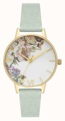 Olivia Burton Enchanted Garden | Women's Sage Leather Strap | Floral Dial OB16EG112