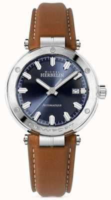 Michel Herbelin | Men's Newport | Brown Leather Strap | Blue Dial 1668/15GO