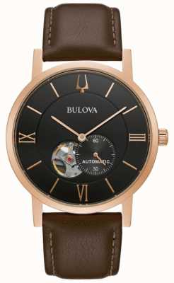 Bulova American Clipper | Automatic | Black Dial | Brown Leather 97A155