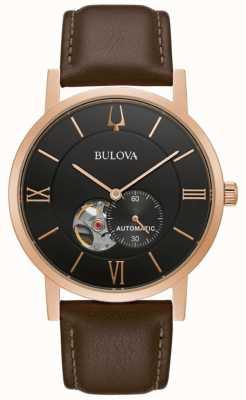 Bulova American Clipper | Automatic | Black Dial | Brown Leather 97A155