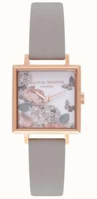 Olivia Burton Signature Dials | Grey Leather Strap | Floral Dial OB16WG41