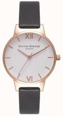 Olivia Burton Women's Black Leather Strap | White Midi Dial OB16MDW07