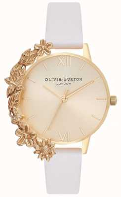 Olivia Burton Case Cuffs | Nude Leather Strap | Gold Dial OB16CB10