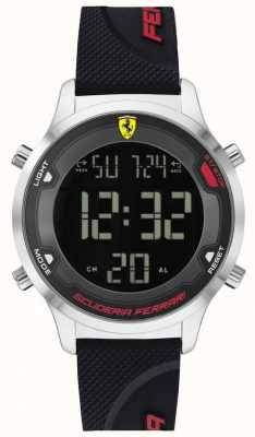 Scuderia Ferrari Men's Digitrack | Black Rubber Strap | Black Digital Dial 0830756