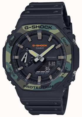 Casio G-Shock | Layered Bezel | Black Rubber Strap | Carbon Case GA-2100SU-1AER