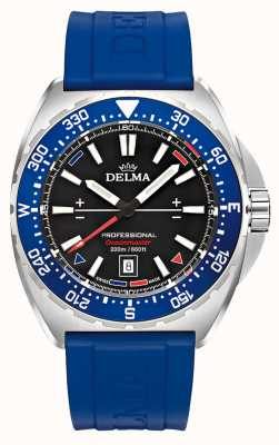 Delma Oceanmaster Quartz | Blue Rubber Strap | Black Dial 41501.676.6.048