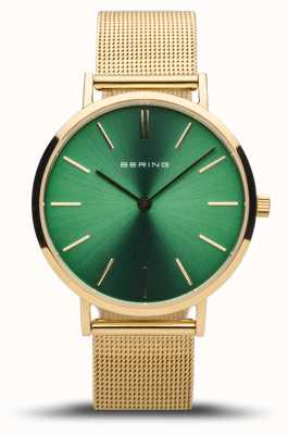 Bering Women's Classic | Polished Gold | Green Dial | Gold Mesh 14134-338