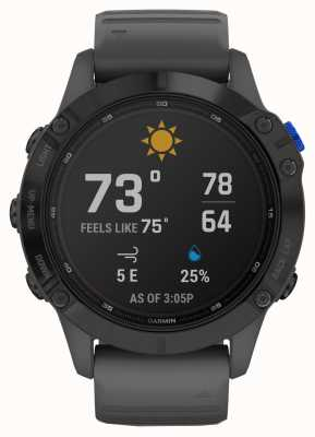 Garmin Fenix 6 Pro Solar | Black With Slate Grey Rubber Strap 010-02410-11