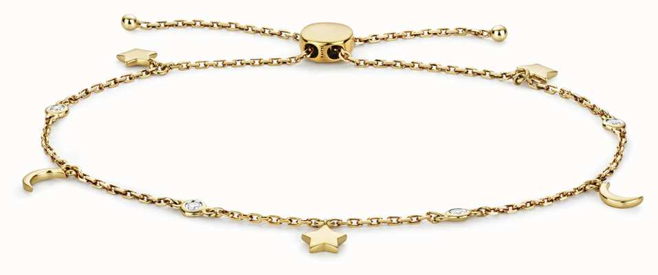 Treasure House 9k Gold 0.08ct Diamond Stars And Moon Bracelet BD031