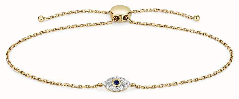 Treasure House 9k Gold 0.09ct Diamond 0.3ct Sapphire Evil Eye Bracelet BD033