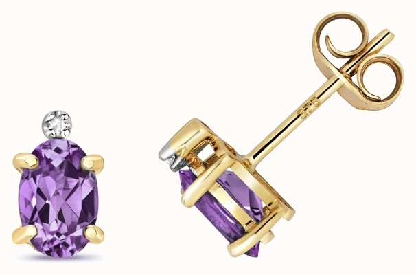Treasure House 9ct Gold Diamond & Amethyst Studs ED268A