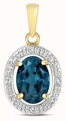 Treasure House 9k Gold Diamond & London Blue Topaz Halo Pendant PD251LB