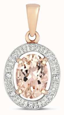 Treasure House 9k Rose Gold Diamond & Morganite Halo Pendant PD251RM