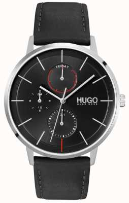 HUGO #EXIST | Black Dial | Multi-functional | Black Leather Strap Watch 1530169