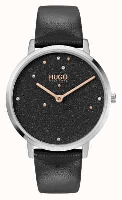 HUGO #DREAM Business | Women's | Black Leather Strap | Black Crystal Set Dial 1540068