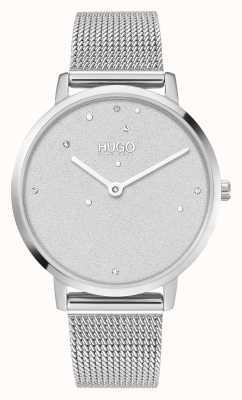 HUGO #DREAM Business   Women's   Steel Mesh Bracelet   Crystal Set Dial 1540066
