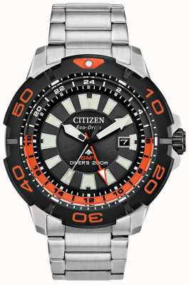 Citizen Men's Promaster Diver GMT | Stainless Steel | Black Dial | Orange Accent BJ7129-56E