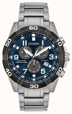 Citizen Brycen Super Titanium Perpetual Calendar Blue Dial Watch BL5558-58L