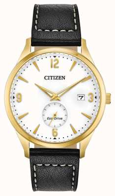 Citizen Eco-Drive Gold PVD Case | Black Leather Strap BV1112-05A