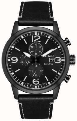 Citizen Eco-Drive Sport Black Leather Strap | Black Dial CA0617-29E