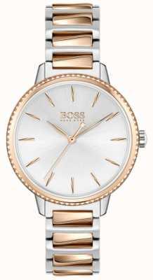 BOSS Women's Signature   Two-Tone Steel Bracelet   Silver Dial 1502567