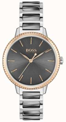 BOSS Women's Signature   Two-Tone Steel Bracelet   Grey Dial 1502569