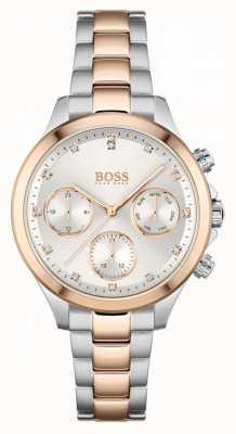 BOSS Women's Hera   Two-Tone Steel Bracelet   Silver Dial 1502564