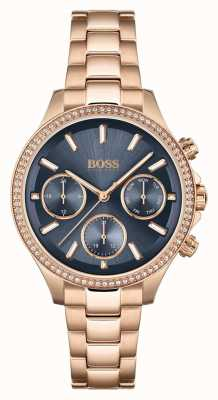 BOSS Women's Hera | Rose Gold Steel Bracelet | Blue Dial 1502566