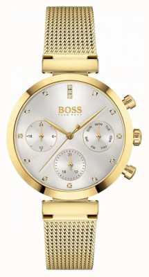 BOSS Women's Flawless   Gold Plated Mesh Bracelet   Silver Dial 1502552