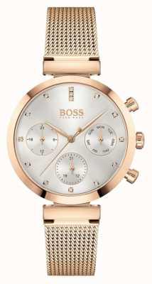 BOSS Women's Flawless   Rose Gold Mesh Bracelet   Silver Dial 1502553