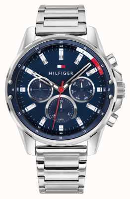 Tommy Hilfiger Men's Mason | Stainless Steel Silver Bracelet | Blue Dial 1791788