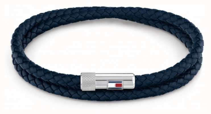 Tommy Hilfiger Men's Casual | Blue Double Wrap Leather Bracelet 2790264
