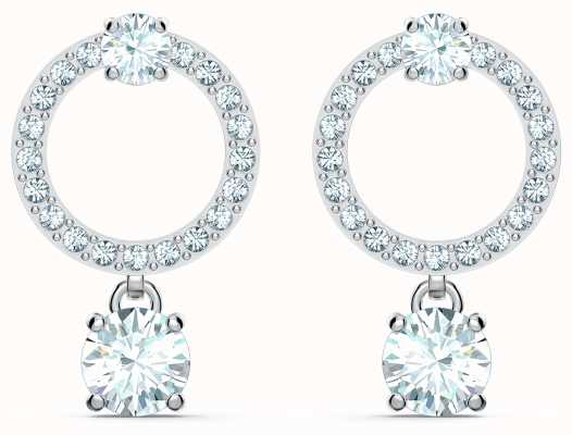 Swarovski Attract | Circle Pierced Earrings | Rhodium Plated | White 5563278