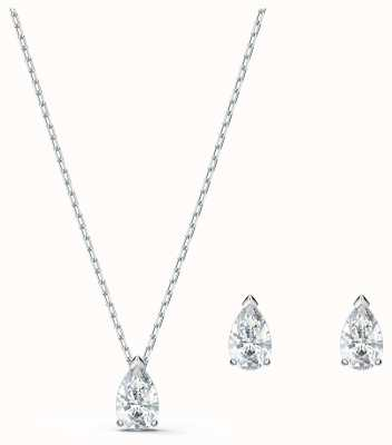 Swarovski Attract | Pear Set | Rhodium Plated | Necklace & Earrings 5569174