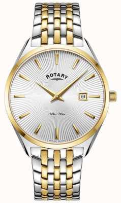 Rotary Men's Ultra Slim | Two-Tone Steel Bracelet | Silver Dial GB08011/02